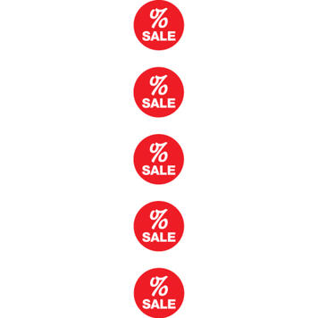 """Верига със знак за процент / SALE"""" от 8 картонени кръга"""
