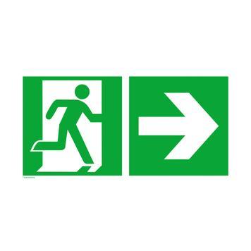 """Евакуационен знак """"авариен изход"""" със стрелка за посока вдясно"""