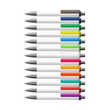 """Химикалка """"Fashion"""" в черно и бяло с цветна скоба"""