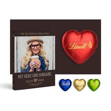 Промоционална картичка с шоколадово сърце Lindt 20 гр