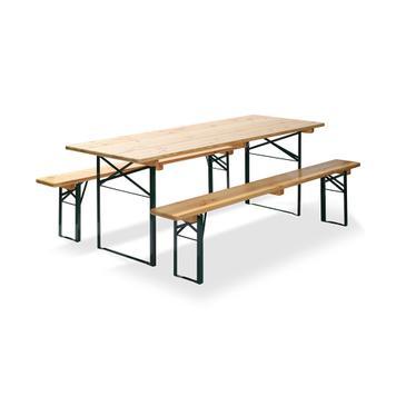 Градински комплект маса с две пейки