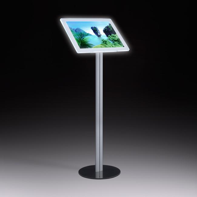 LED Магнитна рамка-информационен дисплей, свободно стоящ, алуминиев в ърху стоманена основна плоча