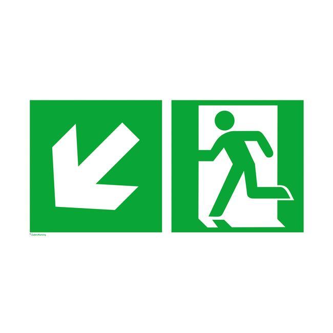 Стрелка указваща авариен изход надолу и наляво