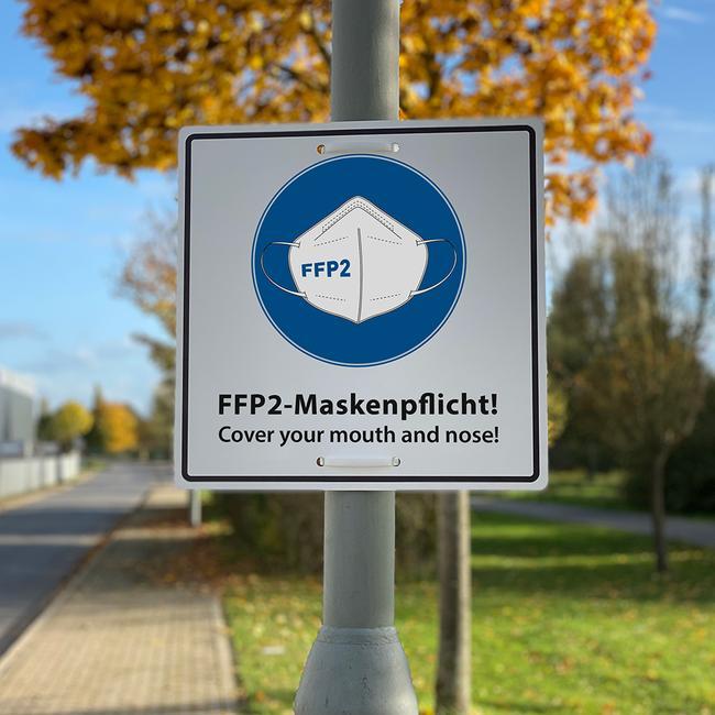 Информационна табела за задължително поставяне на FFP2 маска