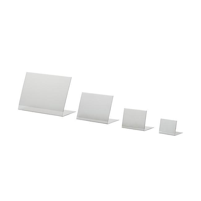 Г-образни стойки от PVC, DIN A6 до DIN A8. В портретен и пейзажен формат