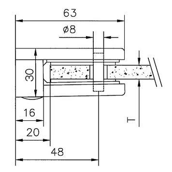 Голяма стъклена скоба за монтаж на стени 6. 8 и 10 мм