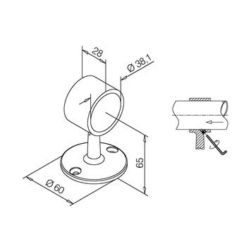 Държач-скоба за тръба V2A, гланцирана