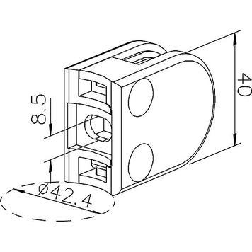 Стъклена скоба за монтаж на тръби от 48.3-50.8 mmо/6,8 и 10 mm