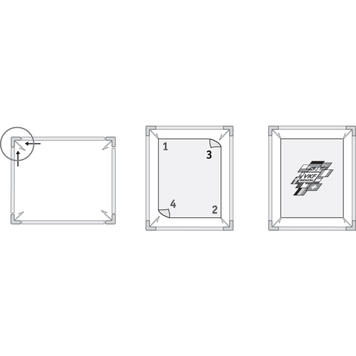 """Свободно стояща стойка за табели """"Inox crossed 42"""", изработена от неръждаема стомана, квадратна версия"""