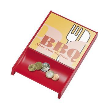 Касова тарелка за монети, цветна, с рекламни табелки