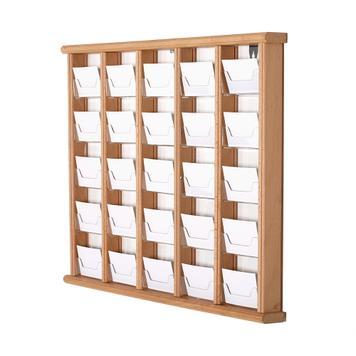Дървена стойка за визитки за стенен монтаж