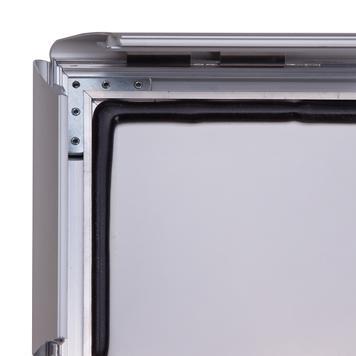 """Водоустойчив А-борд с въртяща се хедър табела """"Windy II"""", 35 мм профил, скосени ъгли, сребърно анодиран"""